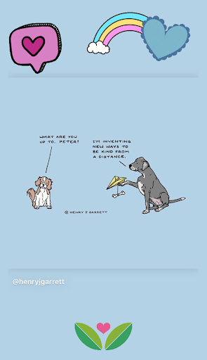 A screenshot of an Instagram post of one dogs sending bones by paper airplane to illustrate being kind from a distance.