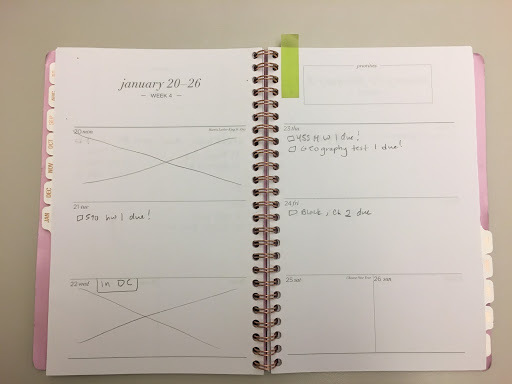 A photo of an open planner with dates for one week to illustrate how it can be used to create lists and schedule times for activities.
