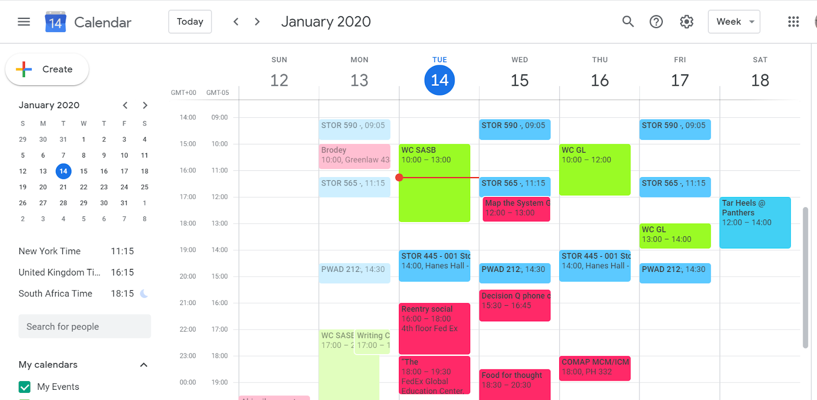 A screenshot of a Google calendar showing three people's scheduled events in different colors to show how calendars can be shared.