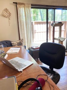 A photo of another work-from-home space with a desk, laptop, computer chair, and sleeping cat in a cat tower in front of a sliding glass window.