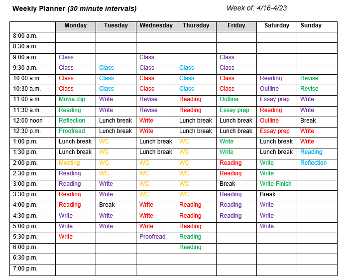 A screenshot of the Tips and Tools calendar worksheet filled out for the week to mark time for class, lunch, meetings, reading, writing, work, and other activities to show how the worksheet can be used.