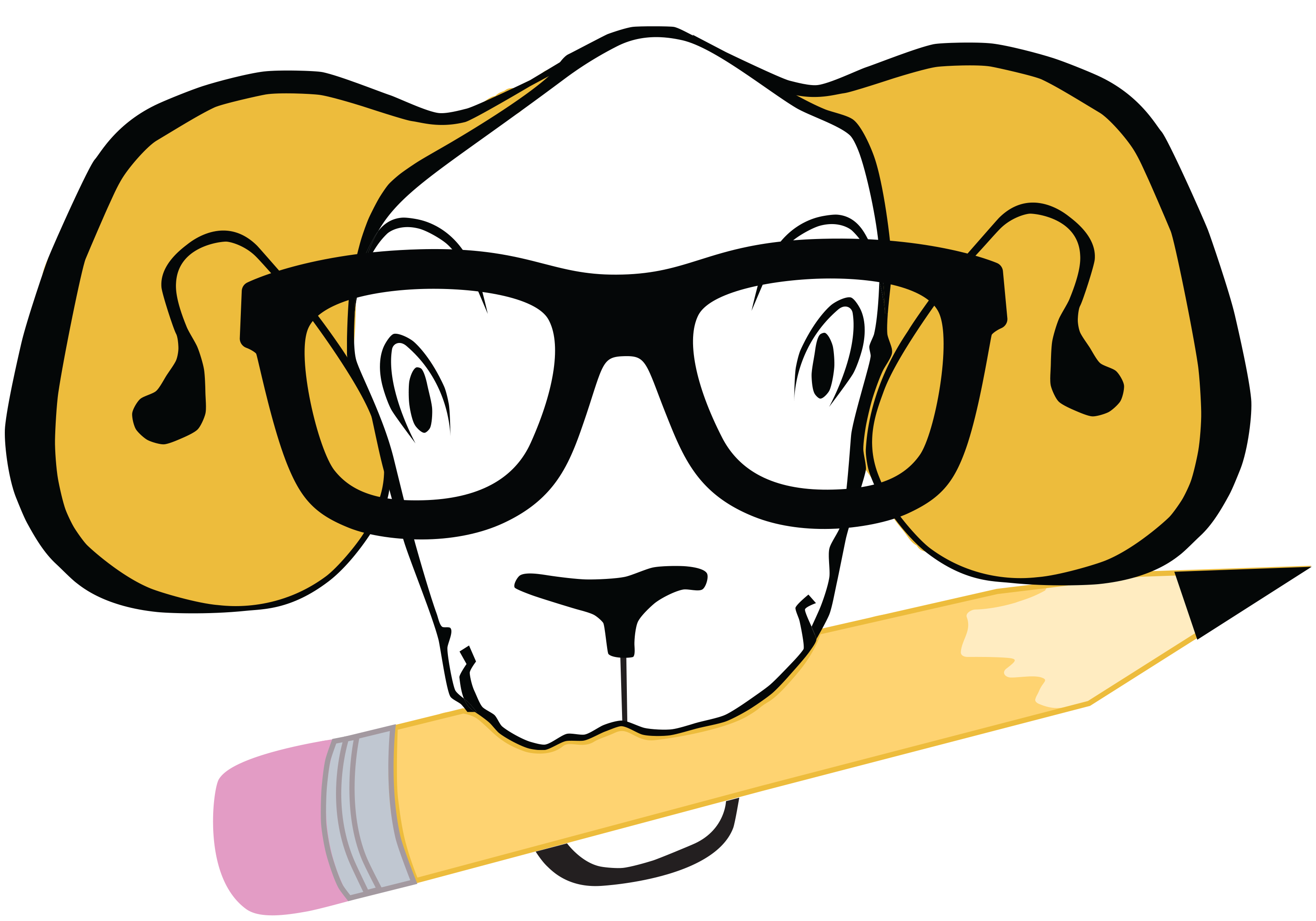 A cartoon ram holding a pencil in its mouth.