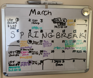A photo of a calendar board for March 2020 with various events and activities filled in to show that calendars can be visual reminders.