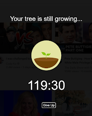 A screenshot of the Forest app showing that the person's tree is still growing.