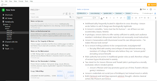 On the left column for Evernote's main screen, a menu lists options for notes and folders. The middle column contains a list of entries. The right row has bullet points describing the Epicene.