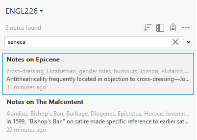 A search in Evernote, showing how you can look for keywords in all notes.
