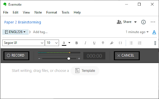 Evernote's voice note opens a dialog box with buttons to record audio, cancel the recording, and attach files.
