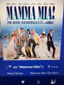 A photo of the cover of the Mama Mia DVD.