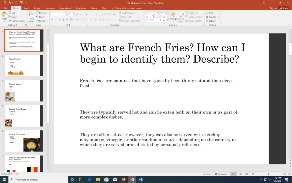 A PowerPoint slide illustrating possible questions and answers from the audience about french fries.