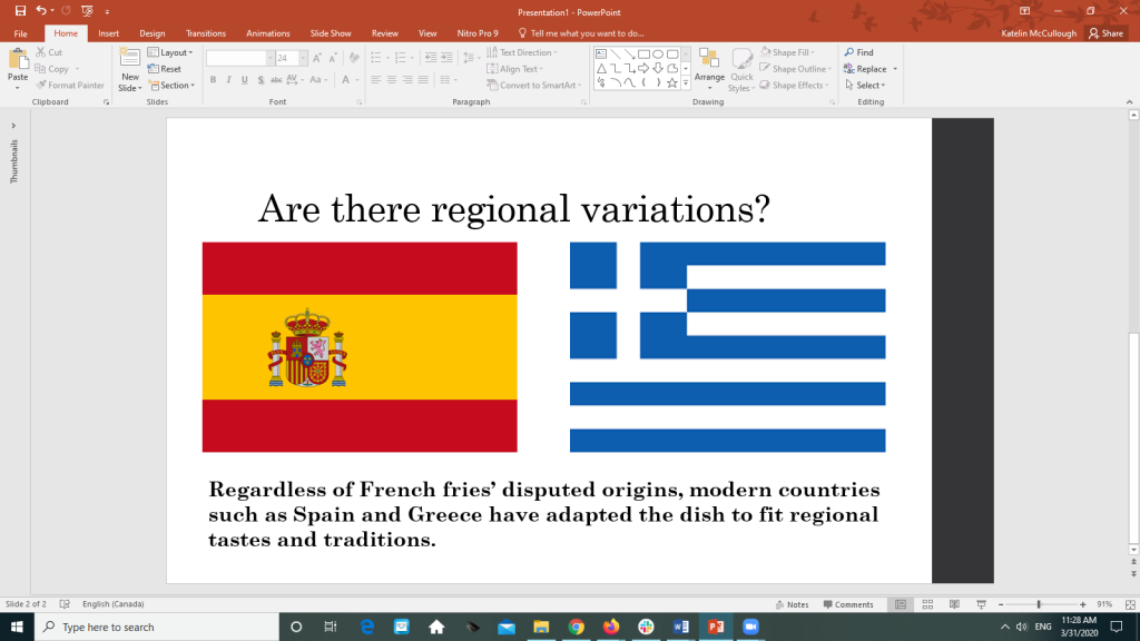 PowerPoint slide with images of flags of Spain and Greece describing how both countries have created regional varieties of French fries