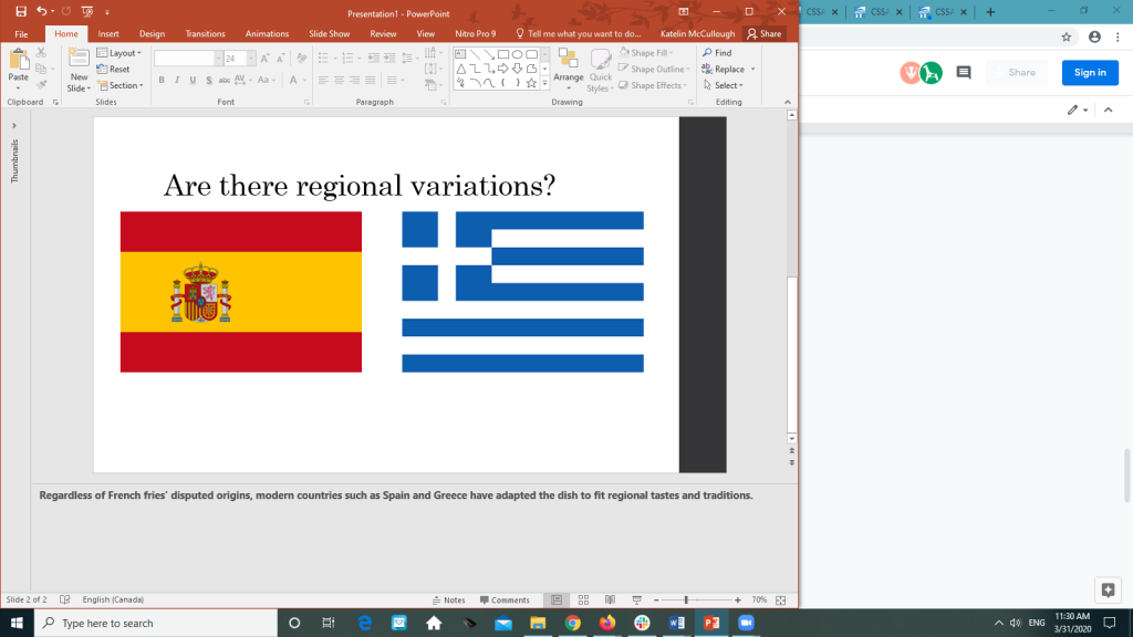 PowerPoint slide with images of flags of Spain and Greece with a note describing how both countries have created regional varieties of French fries
