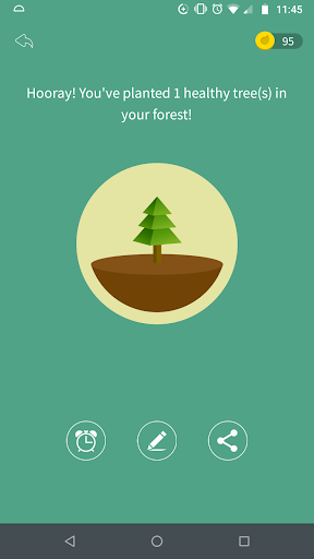 A screenshot from the Forest app showing that the person has planted one healthy tree in their forest.