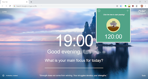 A screenshot of Forest in web browser inviting a person to click the tree to start growing; there's also a peaceful landscape in the background with a prompt asking the person's main focus for the day.