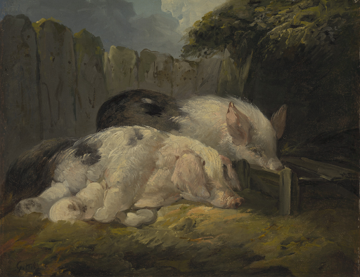 An oil painting of two pigs with piglets in a sty.