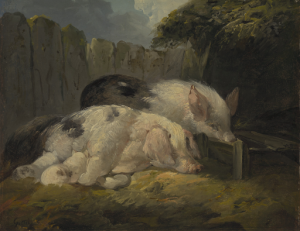 An oil painting of two pigs with piglets in a sty for comparison with the image of a bottle in the form of a pig.