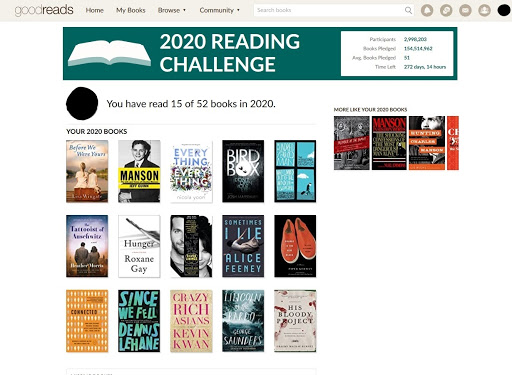 "The Goodreads website depicting various book covers under a heading ""2020 Reading Challenge."""
