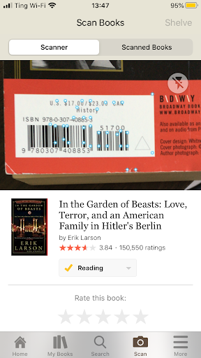"The Goodreads barcode scanner reading the barcode for ""In the Garden of Beasts"" and showing its ratings."