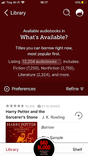 The Libby app showing how many audiobooks are available to be listened to.