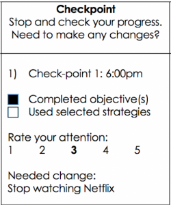 """The checkpoint graphic asks users to """"stop and check your progress."""" It then asks if you """"need to make any changes?"""" The following sections designate a time to complete the task, to rate you attention, to describe the needed change."""