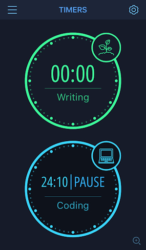 """Display of two clocks. A green clock labeled """"Writing"""" is set at zero. The blue clock below it labeled """"Coding"""" is paused at 24 minutes, 10 seconds."""