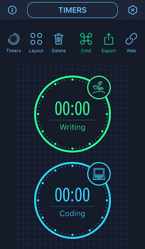 """""""Writing"""" and """"Coding"""" clocks are in the center of the screen. There are six icons labeled on the top row of the screen: Timers, Layout, Delete, Cmd, Export, and Web."""