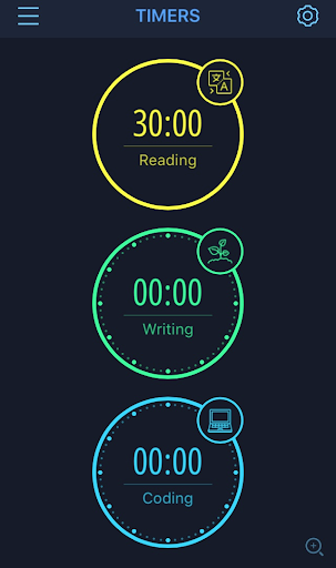 """Three timers are displayed on the main screen. The bottom two timers are set at zero minutes. The bottom timer is blue and labeled """"Coding"""" while the middle timer is green and labeled """"Writing."""" The top timer labeled Reading"""" is yellow and is set for 30 minutes."""
