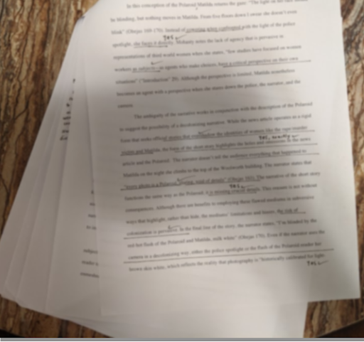 My notes, printed out in a stack of pages.