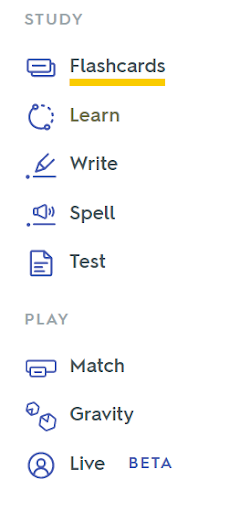 The Study and Play modes of Quizlet, which include Flashcards, Learn, Write, Spell, Test, Match, Gravity, and Live.