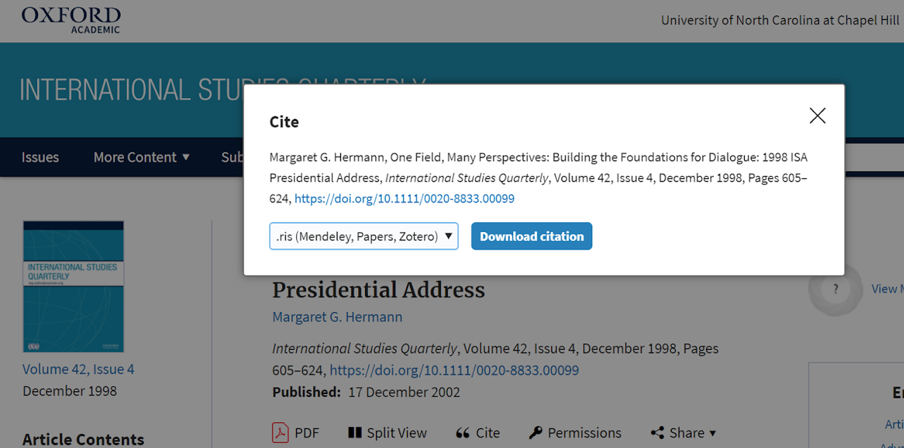 "The ""Cite"" box with citation information, a drop down menu to choose Zotero, and a box that reads ""Download citation."""