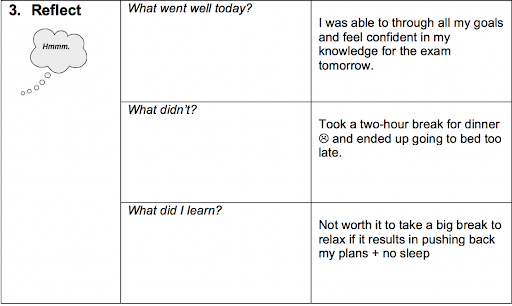 Reflection chart includes rows for what went well, what didn't, and what was learned. Author's responses to questions are written on right.