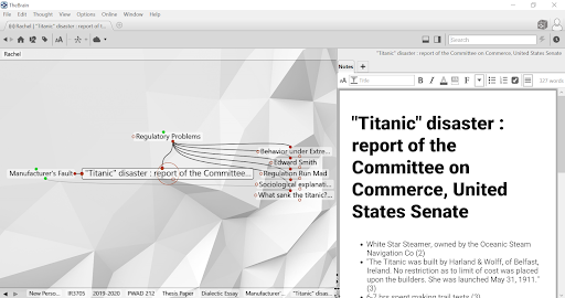 In the mind map, the Titanic article is connected to two subtopics. To the right, the titanic article is displayed as a note.