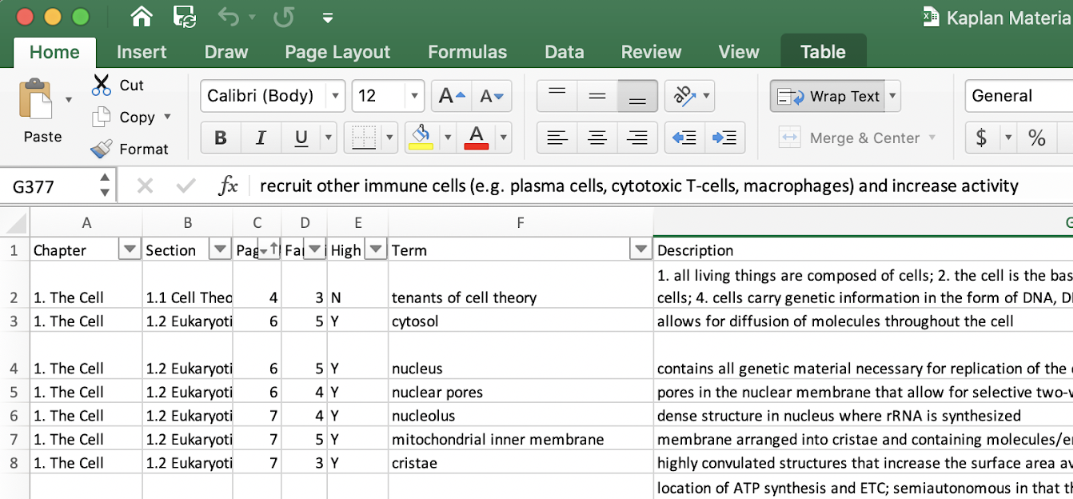 An excel sheet with headings for chapter, section, page number, familiarity, high yield, term, and description.