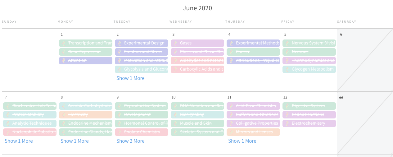 Color-coded MCAT study schedule from Blueprint