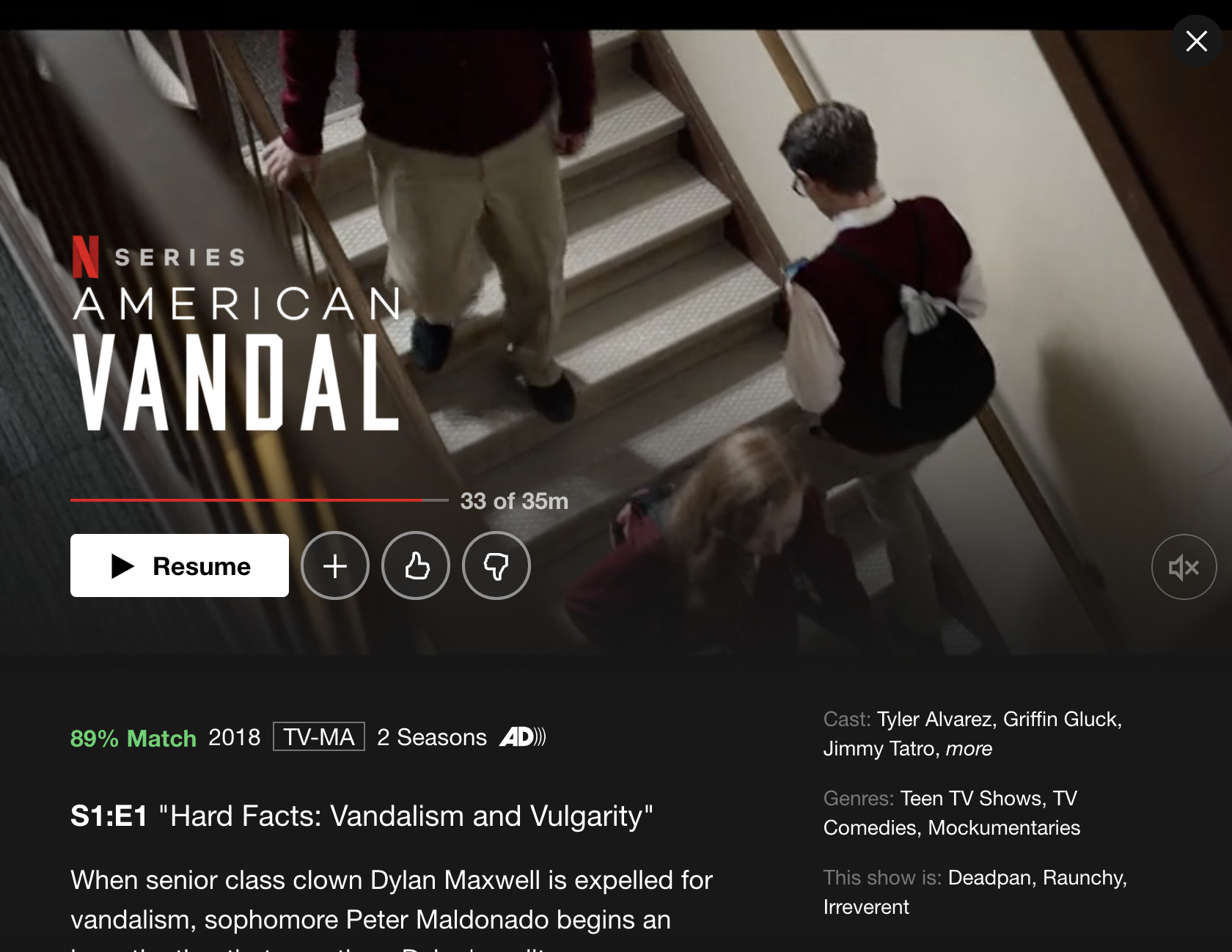 Series page for Netflix' American Vandal