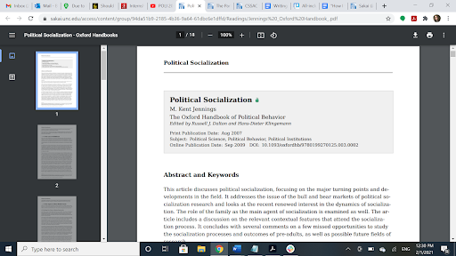 """The author has 13 tabs open in Google Chrome, ranging from Sakai to internship application portals. The page open is a journal article entitled """"Political Socialization."""""""