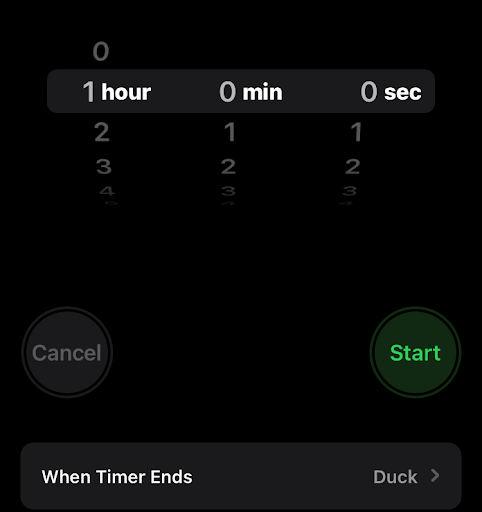 """Screenshot of phone time set to one hour, with the """"Duck"""" alarm selected to ring when the timer goes off."""