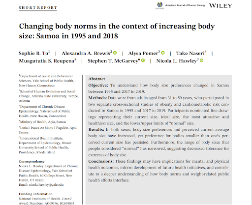 """The Abstract section in the American Journal of Human Biology titled """"Changing body norms in the context of increasing body size: Samoa in 1995 and 2018."""""""