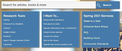 """Search bar on library homepage, with three main categories underneath. """"E-Research by Discipline"""" is listed under the  """"Research Tools"""" category."""