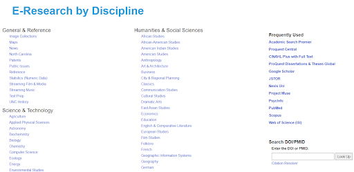 E-research by discipline page listing research categories.