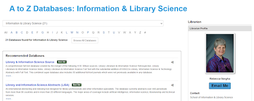 Contact information for the subject librarian is listed on the right-hand side of the Information and Library Science page.