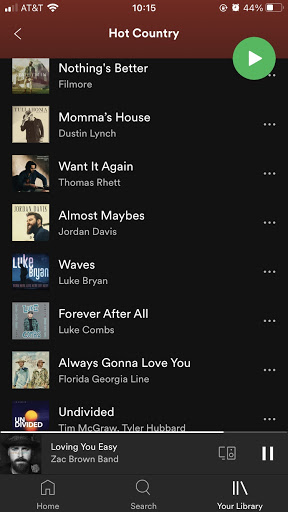 """Screenshot of """"Hot Country"""" playlist on Spotify."""