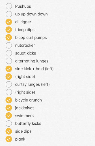 Checklist of various exercises ranging from push-ups to squat kicks to planks, with half of them checked and the rest unchecked.