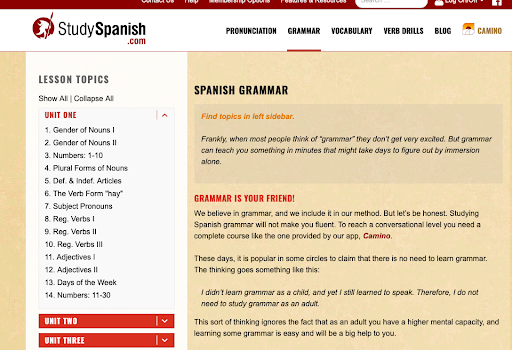 StudySpanish.com is my favorite website to use for reviewing Spanish grammar concepts. They have various lesson plans and quizzes that can be used to practice.