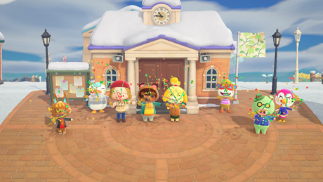 A screenshot from the Nintendo Switch game Animal Crossing: New Horizons.  There are eight animal characters (a cat, penguin, human, two bears, a monkey, pig, and bird) on a plaza shooting confetti in celebration.